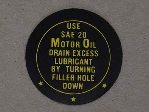 1942-48 FORD FAN OIL INSTRUCTION DECAL-0