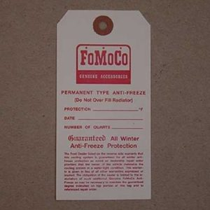 "1953-68 FORD ""FOMOCO"" ANTIFREEZE TAG-0"