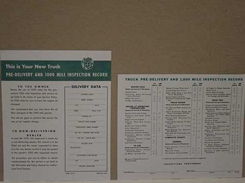 1953-56 FORD TRK PRE-DELIVERY SHEET-0
