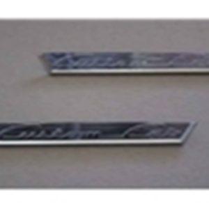 """53-56 Door Emblem Set - """"Custom Cab""""-0"""
