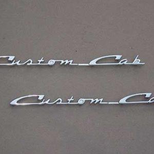 """57-60 Door Emblem Set - """"Custom Cab""""-0"""